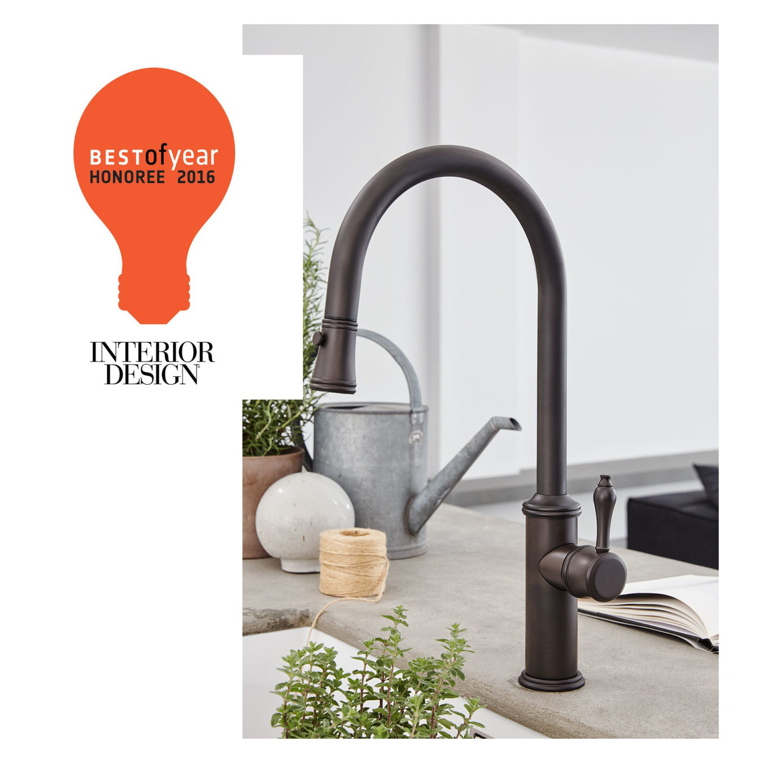 Interior Design Best of Year 2016 Honoree logo overlay on Davoli pull down kitchen faucet