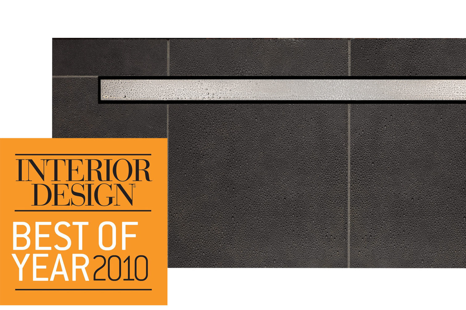 Interior Design Best of Year logo overlay on Ceraline drain