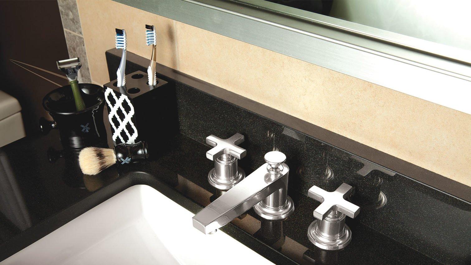 Rincon Bay Widespread faucet in satin nickel on bathroom sink