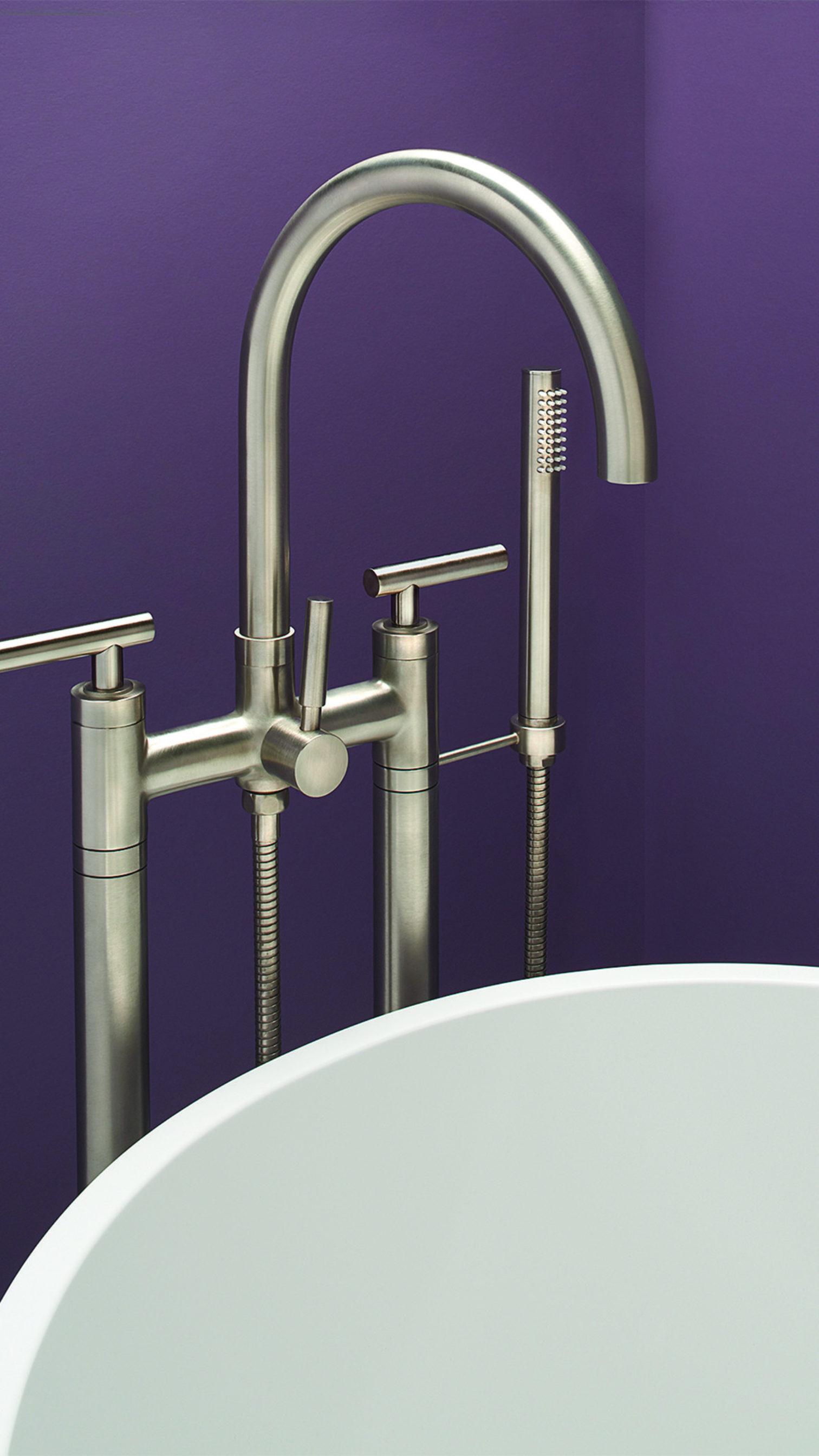 Bathroom Series Asilomar tub filler with purple background