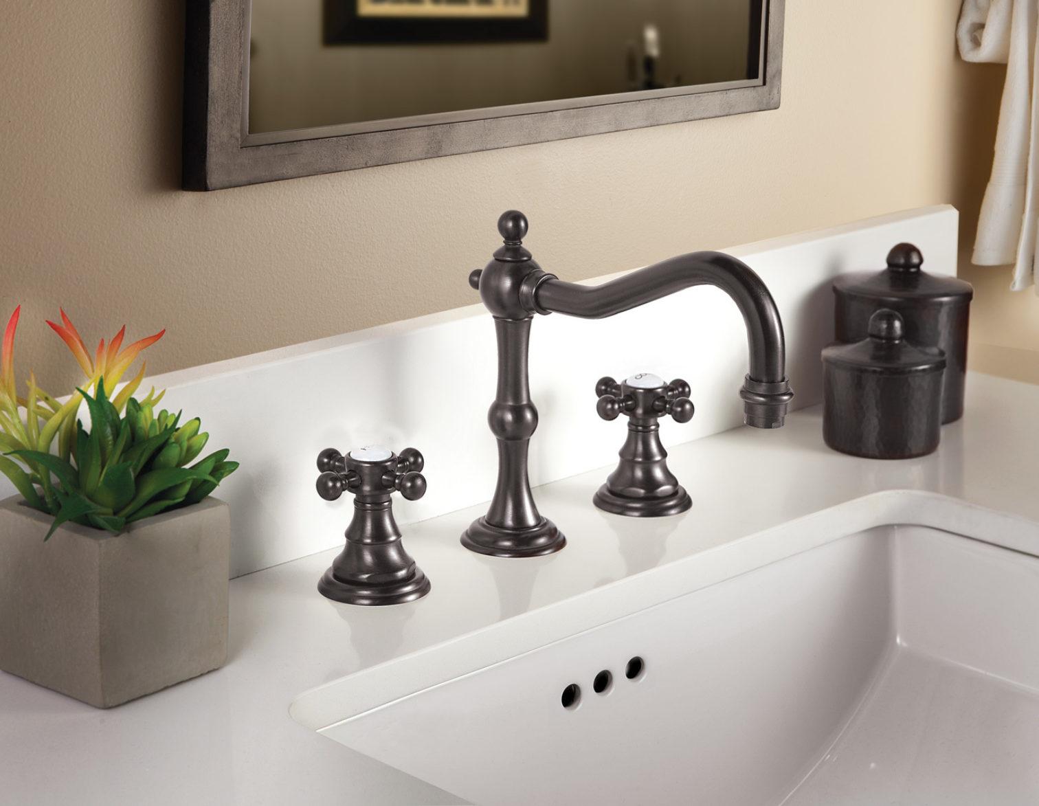 Montecito widespread faucet in rustico bronze