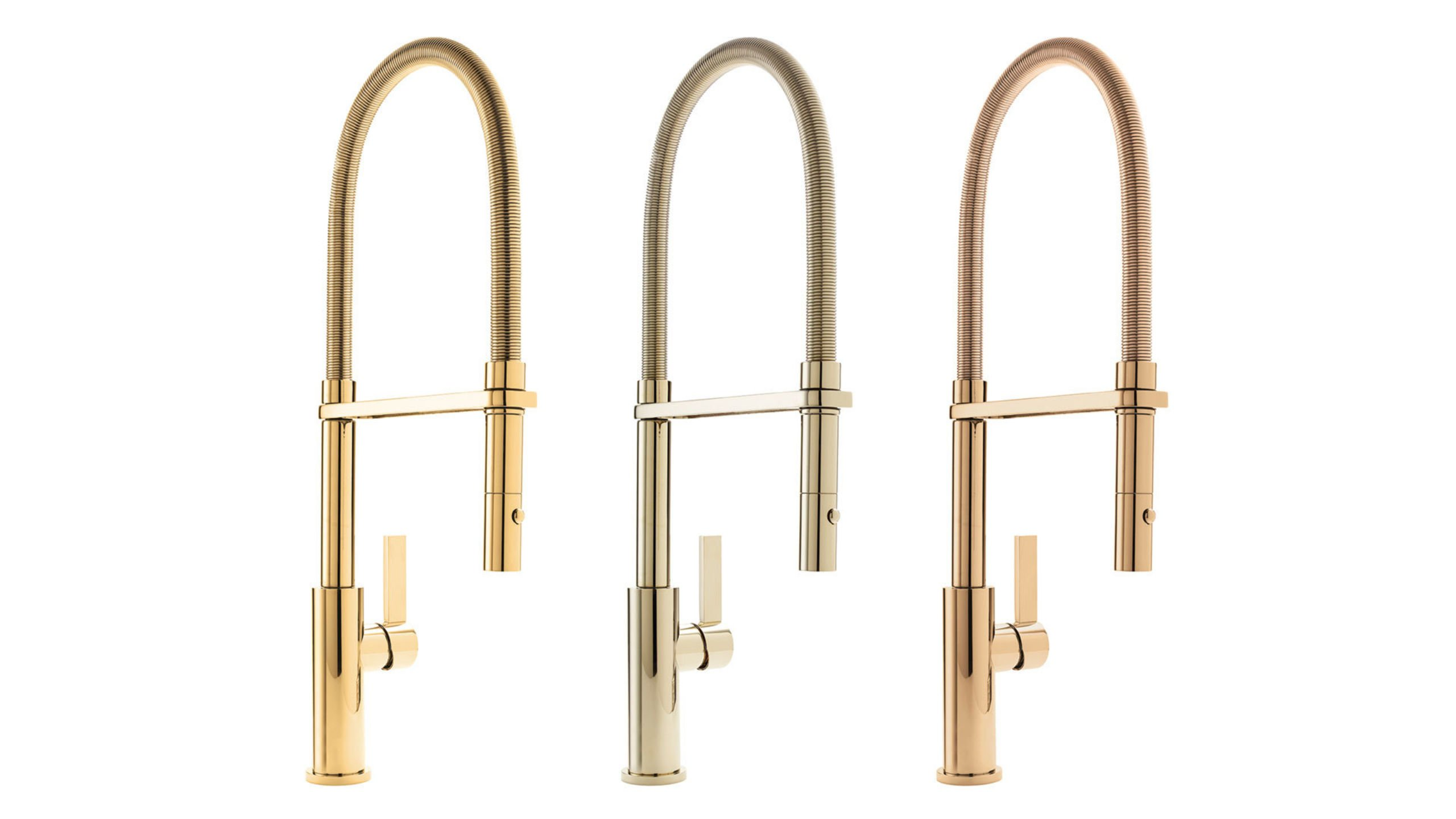 Kitchen Culinary faucets in polished gold brass and nickel