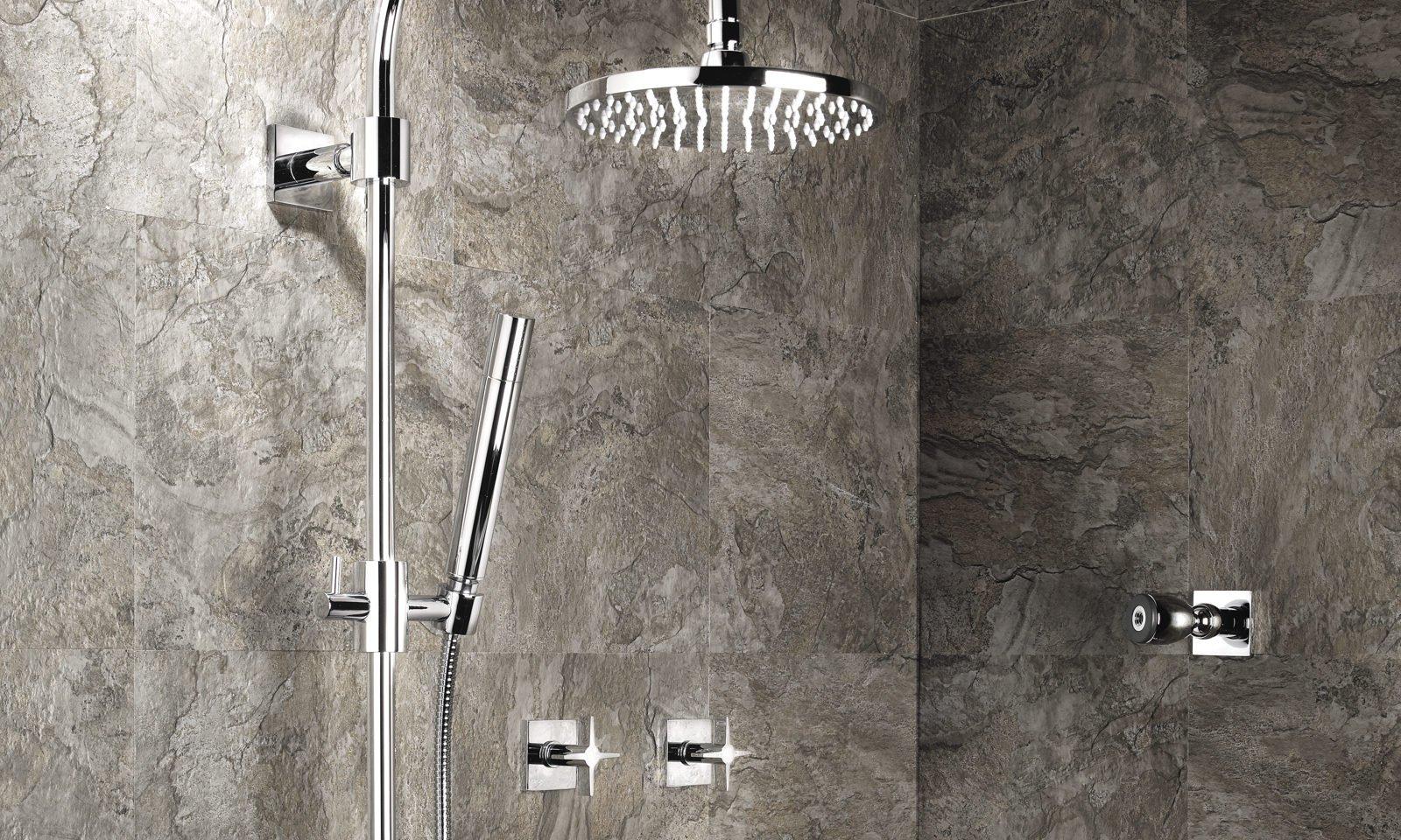 luxury thermostatic shower with showerhead, handshower, and body sprays