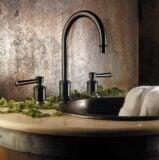 Miramar faucet in Rustico Bronze with decorative foliage