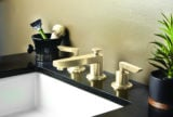 Rincon Bay widespread faucet in satin bronze