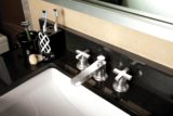 Rincon Bay faucet with cross handles in burnished nickel