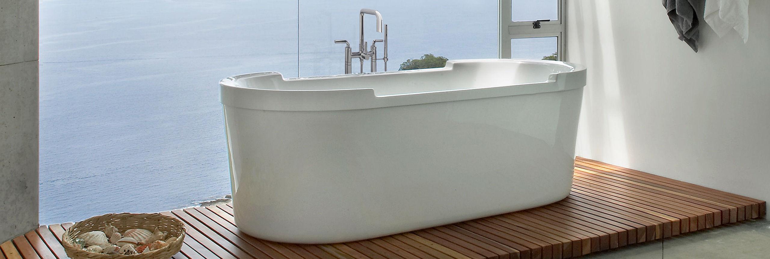 Bathroom series Bolsa floor mount tub filler with tub on teak flooring
