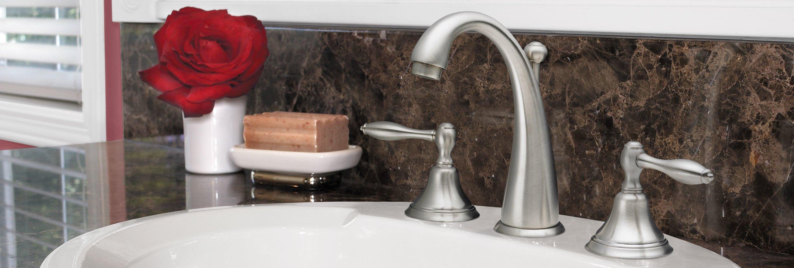 bathroom series Mendocino widespread faucet on sink