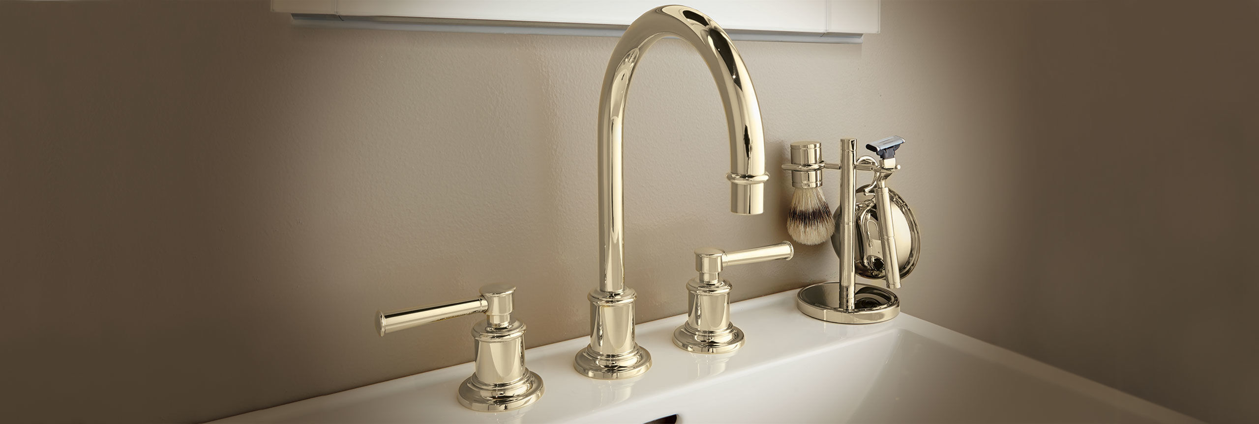 bathroom series miramar widespread faucet with high spout on sink