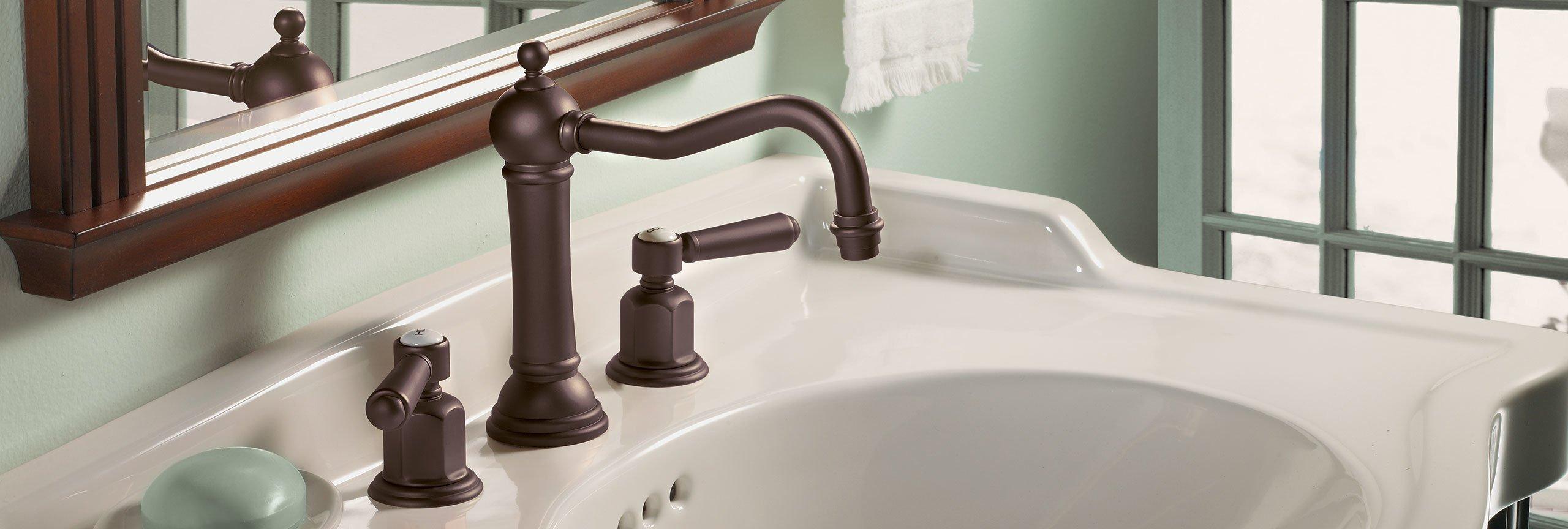 Bathroom series montecito widespread faucet in oil rubbed bronze