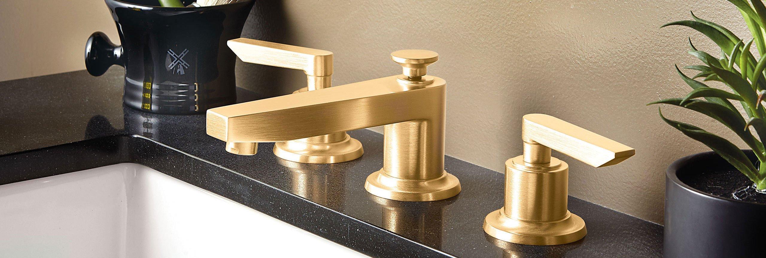 bathroom series rincon bay widespread faucet in satin gold
