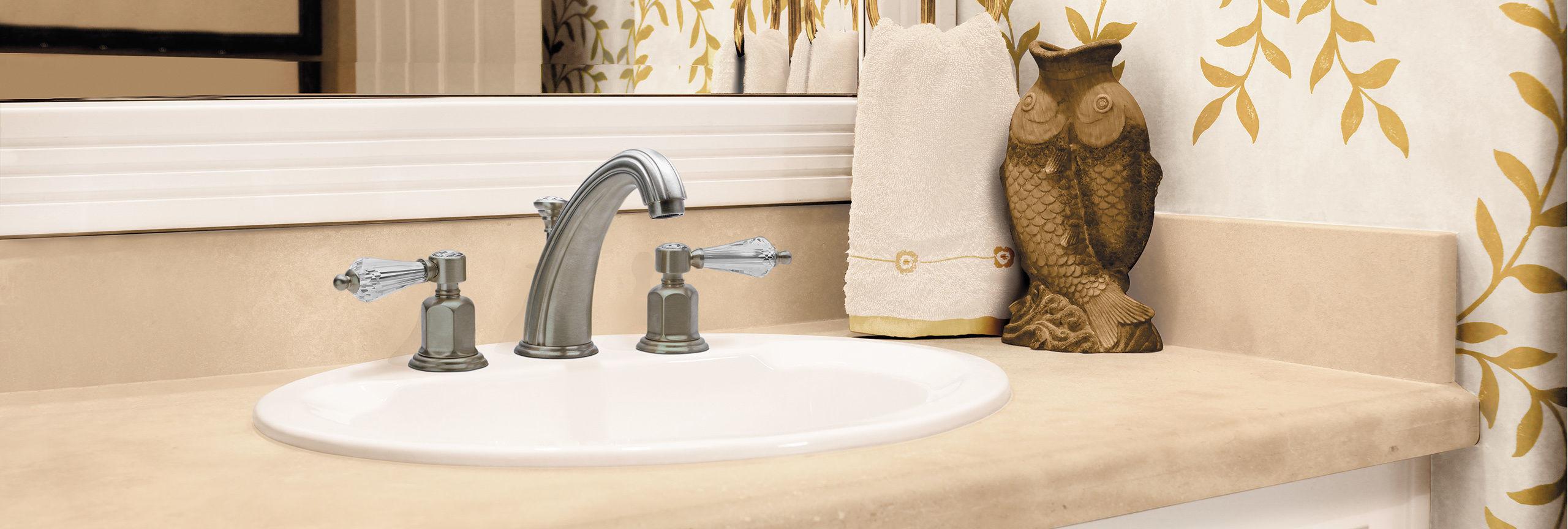 bathroom series: san clemente widespread faucet with crystal handles
