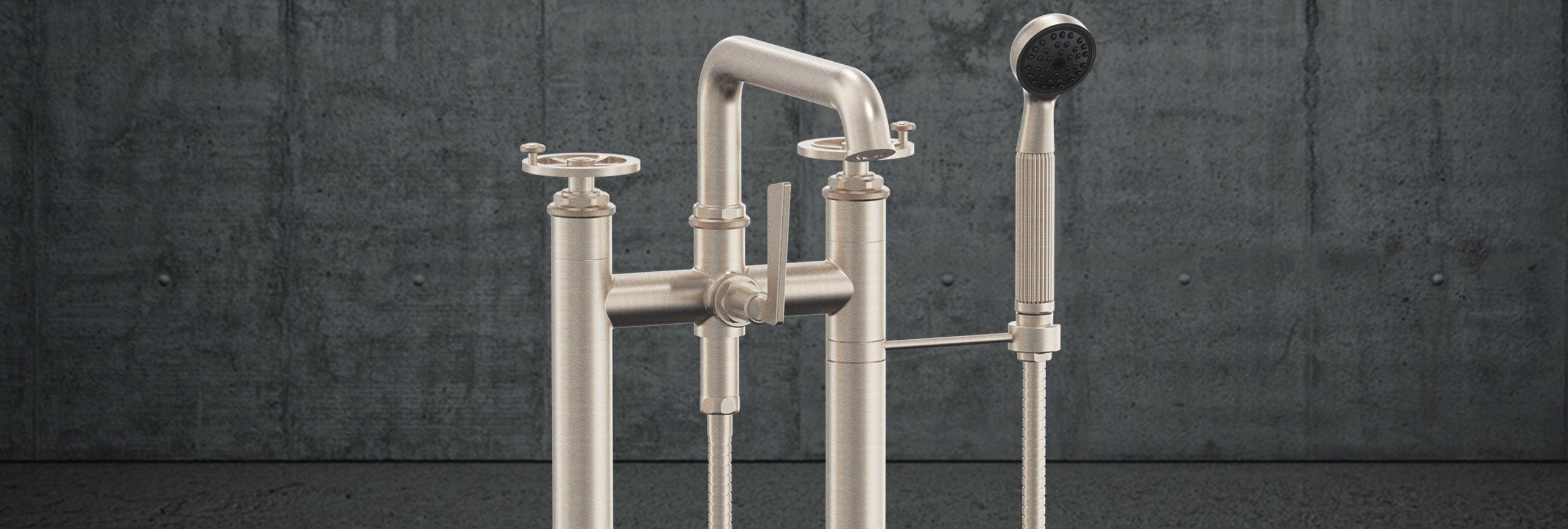 bathroom series Steampunk Bay tub filler with wheel handles