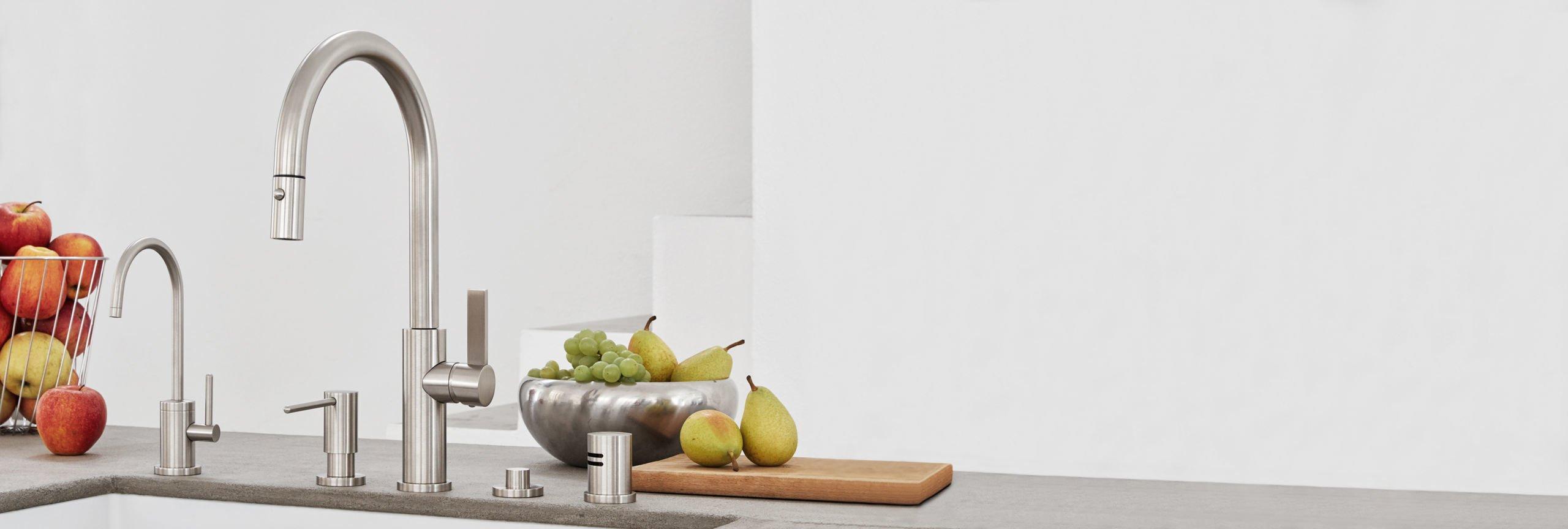kitchen series corsano faucet, water spout, soap dispenser, and trim accessories